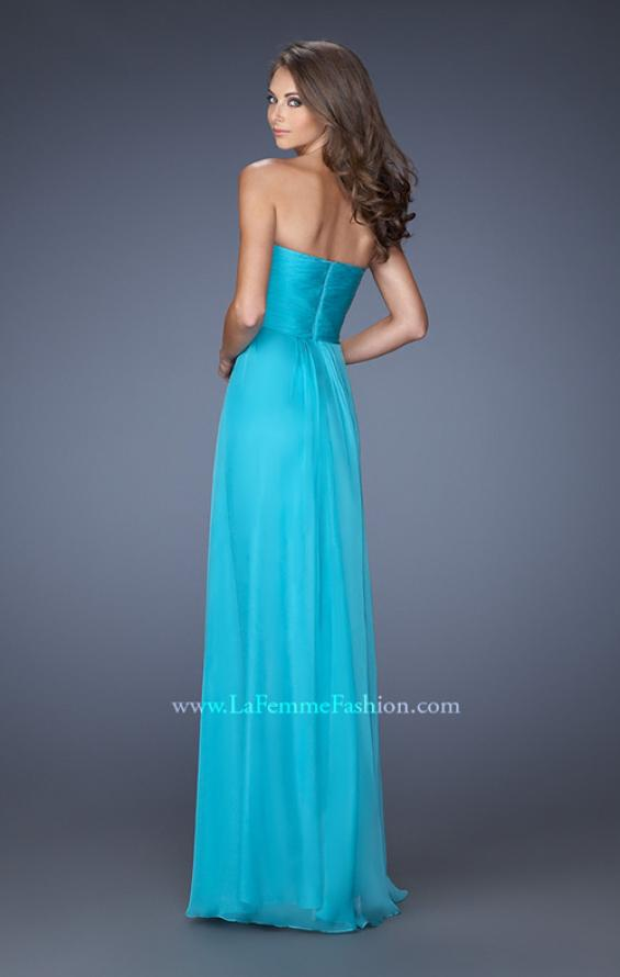 Picture of: Strapless Chiffon Long Prom Gown with Bedazzled Trim in Blue, Style: 19739, Back Picture