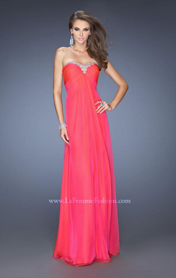 Picture of: Strapless Chiffon Long Prom Gown with Bedazzled Trim in Pink, Style: 19739, Detail Picture 1