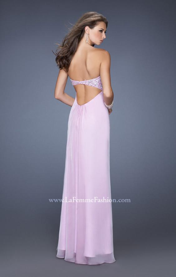 Picture of: Long Strapless Chiffon Prom Dress with Embellished Bodice, Style: 19740, Back Picture