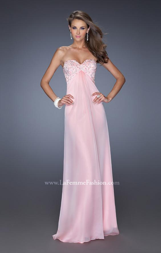 Picture of: Long Strapless Chiffon Prom Dress with Embellished Bodice, Style: 19740, Detail Picture 1