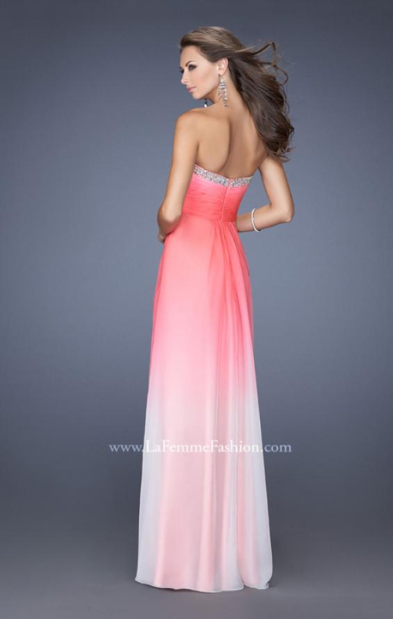 Picture of: Strapless Long Ombre Prom Gown with a Pleated Bodice in Pink, Style: 19742, Back Picture