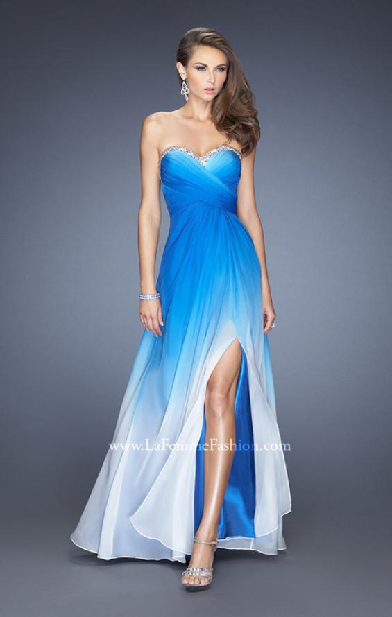 Picture of: Strapless Long Ombre Prom Gown with a Pleated Bodice in Blue, Style: 19742, Detail Picture 1