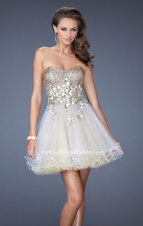 Picture of: Short Strapless Prom Dress with Sequin Bodice and Tulle Skirt, Style: 19748, Main Picture