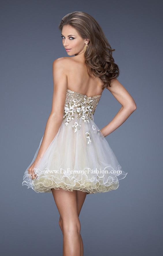 Picture of: Short Strapless Prom Dress with Sequin Bodice and Tulle Skirt, Style: 19748, Back Picture