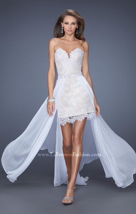 Picture of: Short Strapless Lace Dress with Detachable Chiffon Skirt, Style: 19749, Main Picture