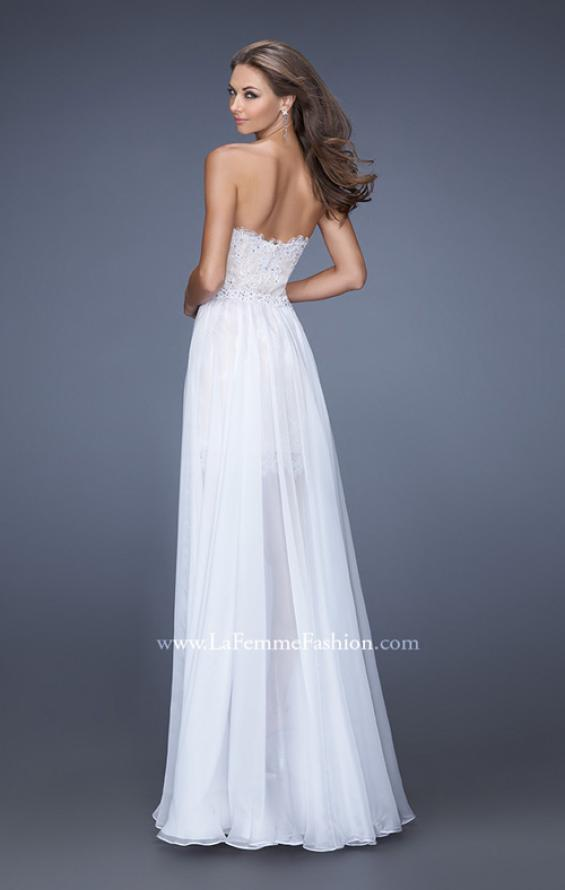 Picture of: Short Strapless Lace Dress with Detachable Chiffon Skirt, Style: 19749, Back Picture