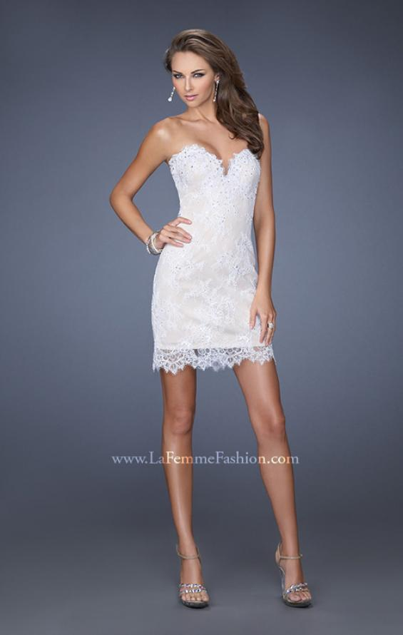 Picture of: Short Strapless Lace Dress with Detachable Chiffon Skirt, Style: 19749, Detail Picture 1