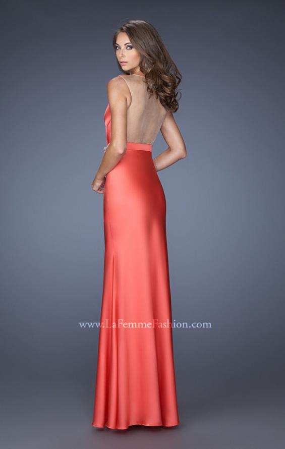 Picture of: Long Satin Prom Gown with a Deep V Neckline in Orange, Style: 19751, Back Picture