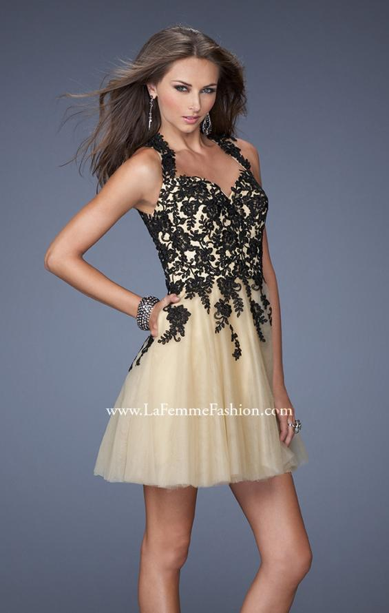 Picture of: Short A-line Dress with Lace Embroidery and an Open Back in Black, Style: 19753, Main Picture