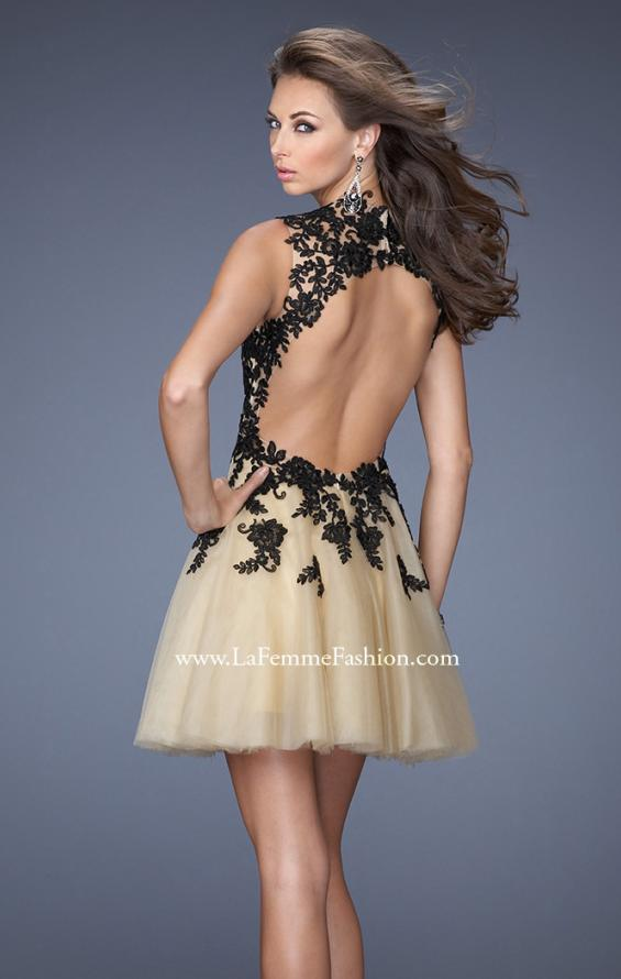 Picture of: Short A-line Dress with Lace Embroidery and an Open Back in Black, Style: 19753, Back Picture
