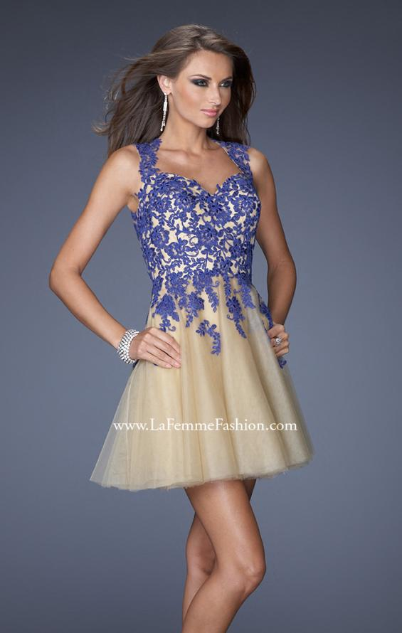 Picture of: Short A-line Dress with Lace Embroidery and an Open Back in Blue, Style: 19753, Detail Picture 2