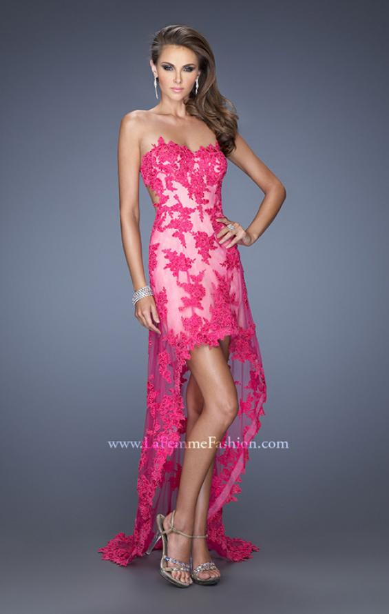 Picture of: Strapless High Low Dress with Lace Applique and a Sheer Skirt, Style: 19757, Main Picture