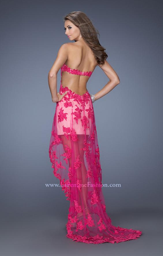 Picture of: Strapless High Low Dress with Lace Applique and a Sheer Skirt, Style: 19757, Back Picture
