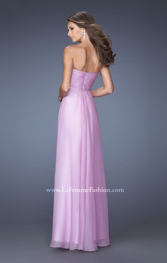 Picture of: Long Strapless Chiffon Prom Gown with Beaded Embroidery in Purple, Style: 19759, Back Picture