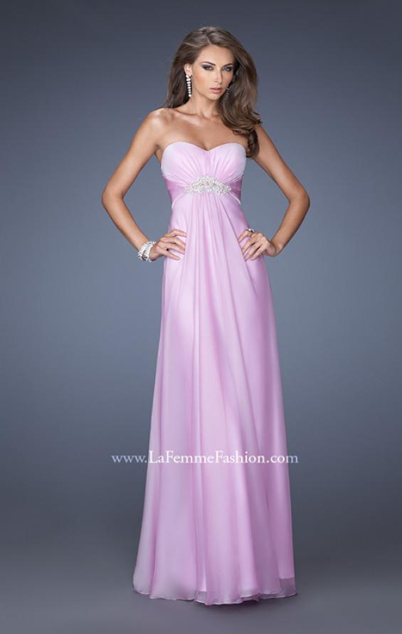 Picture of: Long Strapless Chiffon Prom Gown with Beaded Embroidery in Purple, Style: 19759, Detail Picture 1