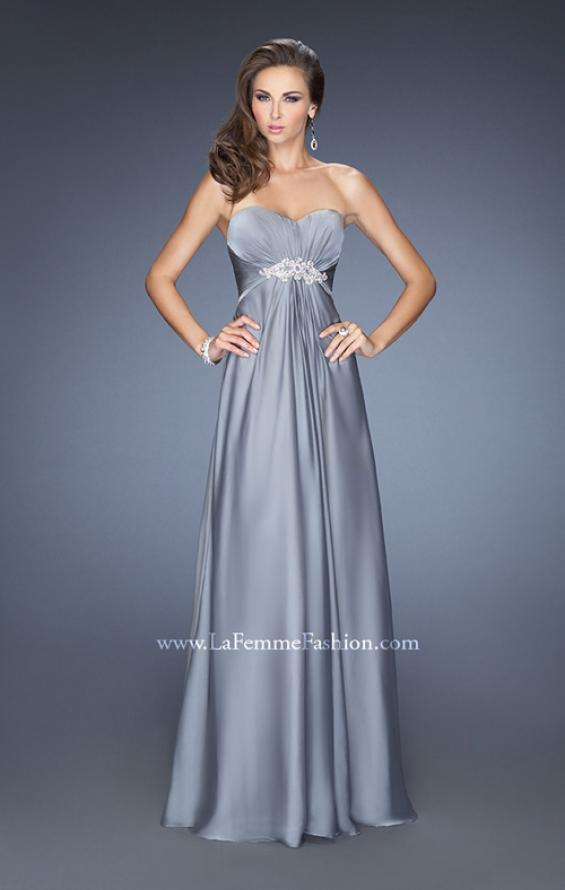 Picture of: Long Strapless Chiffon Prom Gown with Beaded Embroidery in Silver, Style: 19759, Detail Picture 2