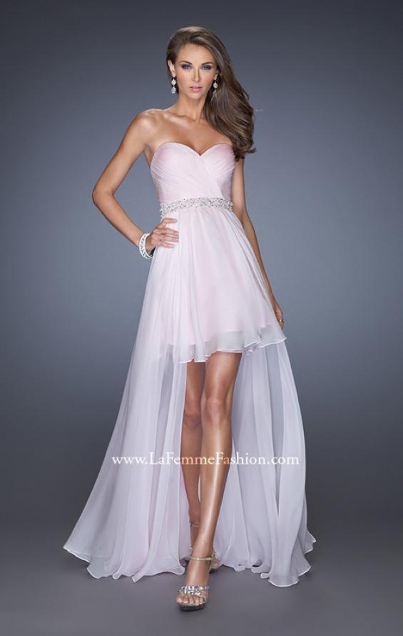 Picture of: High Low Strapless Chiffon Prom Dress with Beaded Details, Style: 19762, Main Picture