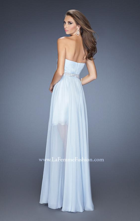 Picture of: High Low Strapless Chiffon Prom Dress with Beaded Details, Style: 19762, Back Picture