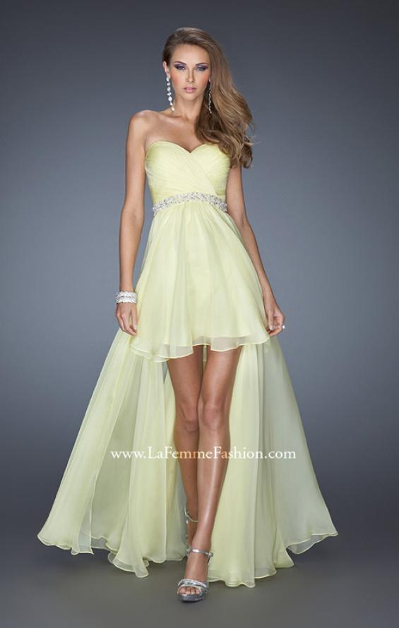 Picture of: High Low Strapless Chiffon Prom Dress with Beaded Details, Style: 19762, Detail Picture 3