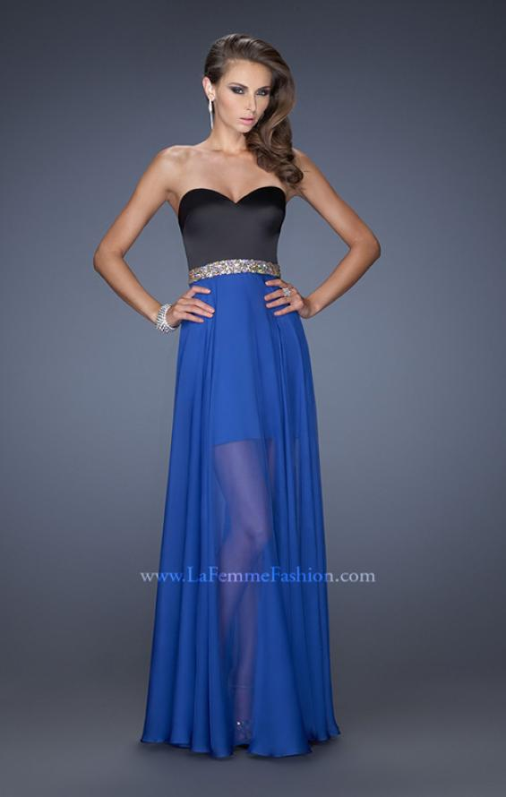 Picture of: Strapless Prom Dress with Attached Long Chiffon Overlay in Blue, Style: 19766, Main Picture