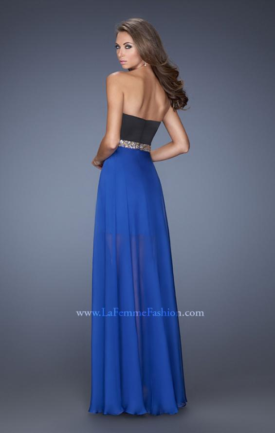 Picture of: Strapless Prom Dress with Attached Long Chiffon Overlay in Blue, Style: 19766, Back Picture