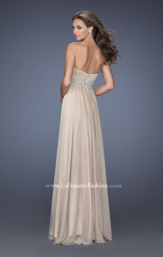 Picture of: Long Strapless Chiffon Prom Gown with Beaded Details in Nude, Style: 19767, Back Picture
