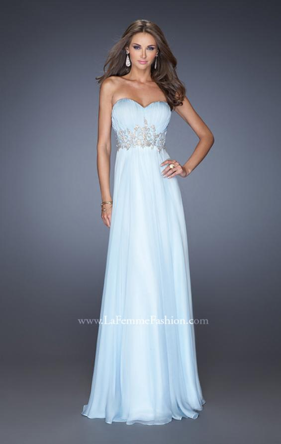 Picture of: Long Strapless Chiffon Prom Gown with Beaded Details in Blue, Style: 19767, Detail Picture 1