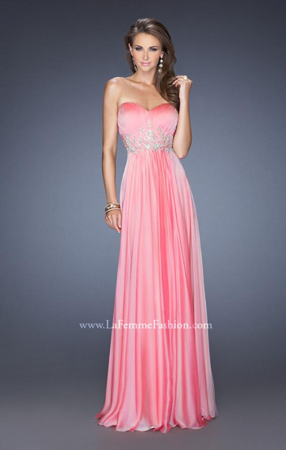 Picture of: Long Strapless Chiffon Prom Gown with Beaded Details in Pink, Style: 19767, Detail Picture 2