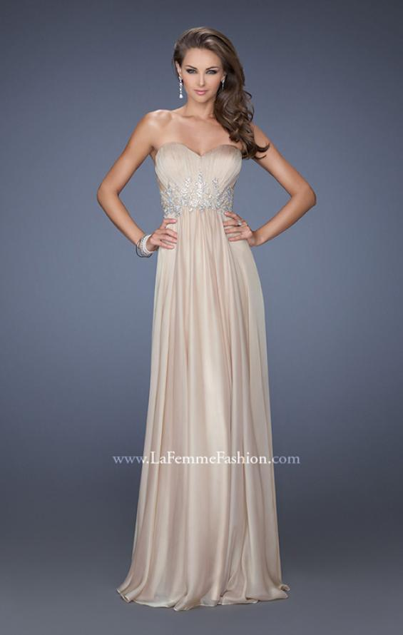 Picture of: Long Strapless Chiffon Prom Gown with Beaded Details in Nude, Style: 19767, Detail Picture 3
