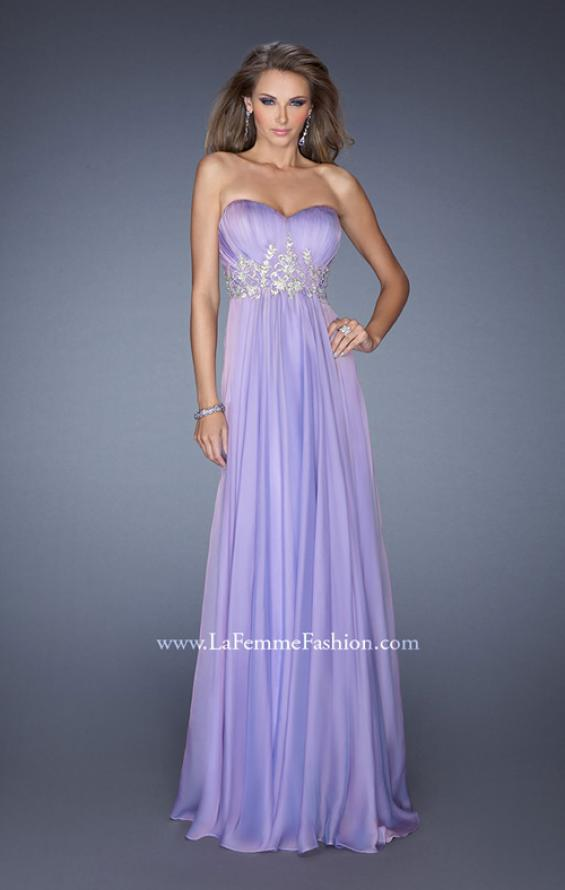 Picture of: Long Strapless Chiffon Prom Gown with Beaded Details in Purple, Style: 19767, Detail Picture 4