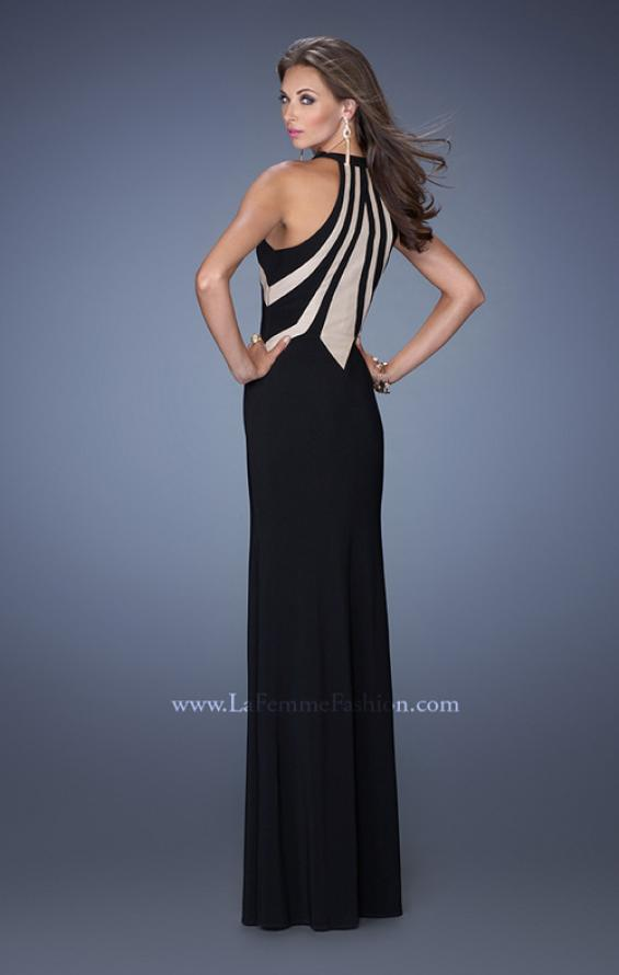 Picture of: Long Fitted Jersey Prom Gown with Bold Nude Cut Out Detail, Style: 19769, Back Picture