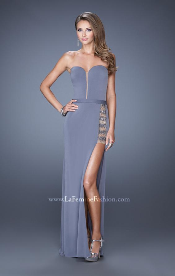 Picture of: Long Fitted Strapless Prom Dress with Sheer Side Panel, Style: 19786, Detail Picture 2