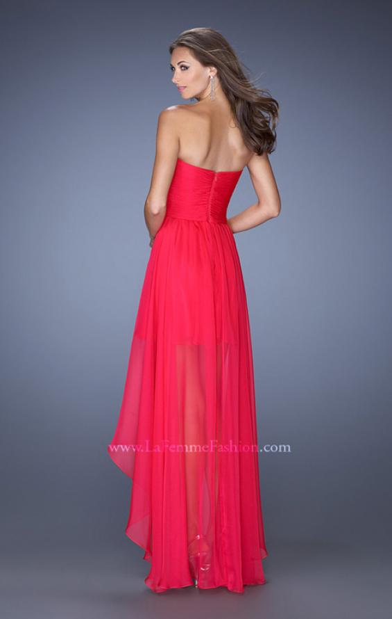 Picture of: High Low Sweetheart Strapless Chiffon Prom Dress in Pink, Style: 19791, Back Picture