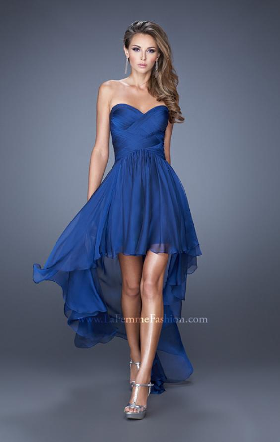 Picture of: High Low Sweetheart Strapless Chiffon Prom Dress in Blue, Style: 19791, Detail Picture 1