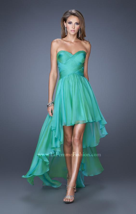 Picture of: High Low Sweetheart Strapless Chiffon Prom Dress in Green, Style: 19791, Detail Picture 2