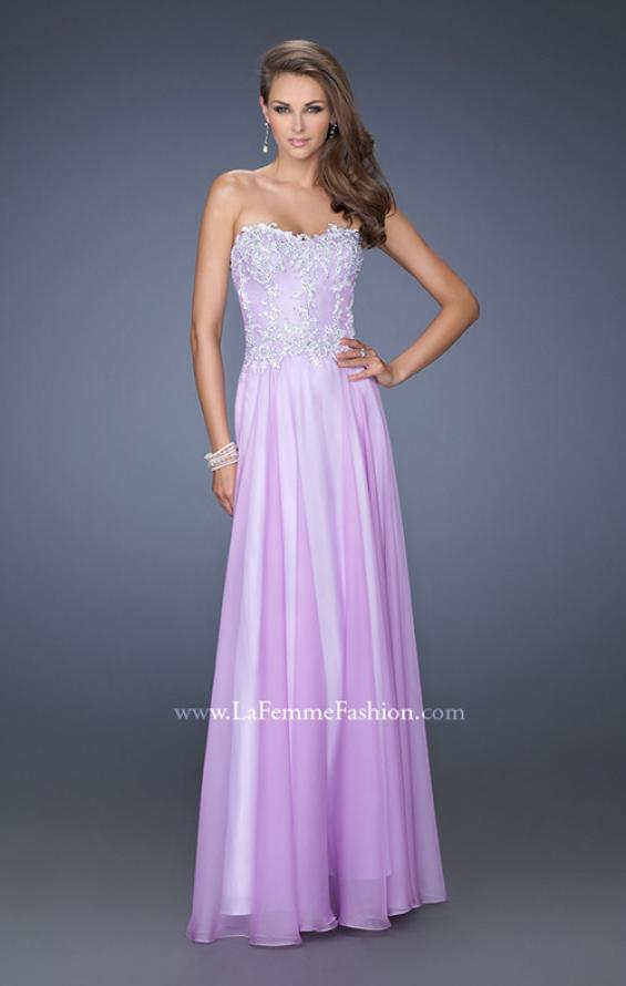 Picture of: Long Chiffon Prom Gown with Stones and Lace in Purple, Style: 19801, Main Picture