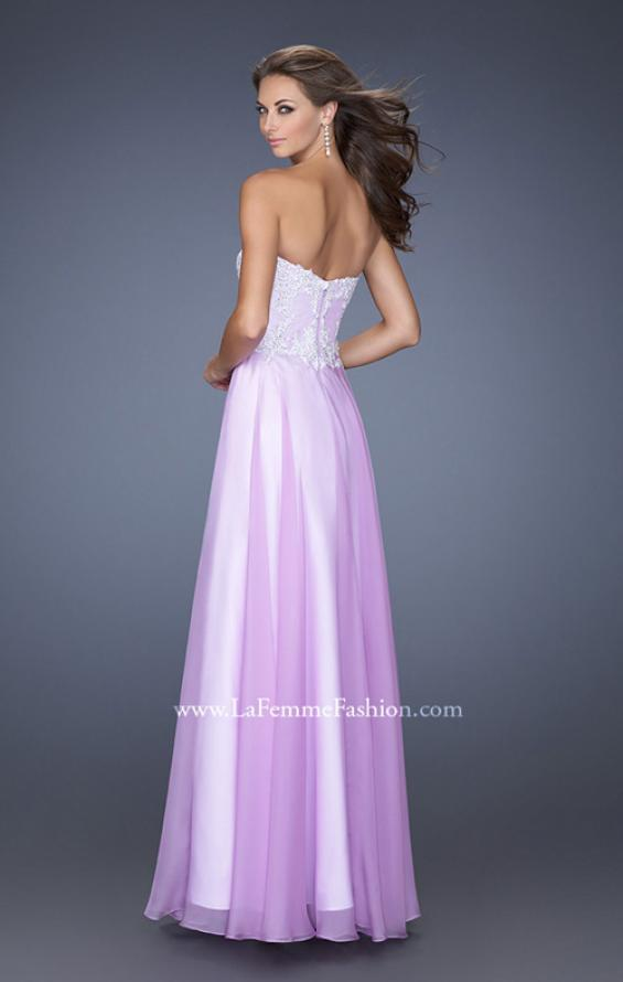 Picture of: Long Chiffon Prom Gown with Stones and Lace in Purple, Style: 19801, Back Picture
