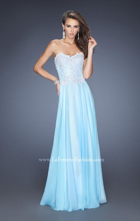 Picture of: Long Chiffon Prom Gown with Stones and Lace in Blue, Style: 19801, Detail Picture 1