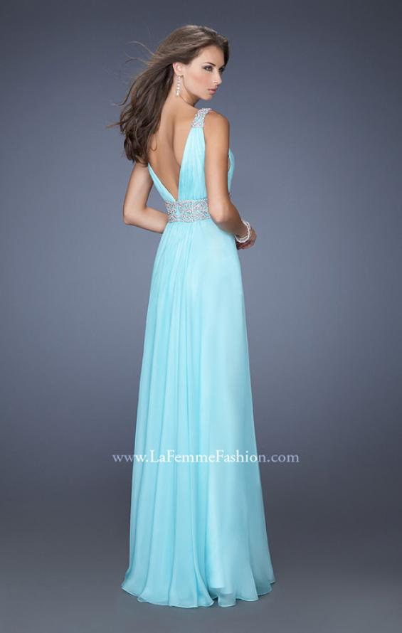 Picture of: Deep V Chiffon Prom Dress with Pleated Bodice in Blue, Style: 19802, Back Picture