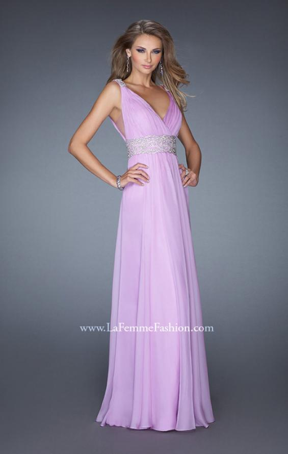 Picture of: Deep V Chiffon Prom Dress with Pleated Bodice in Purple, Style: 19802, Detail Picture 1