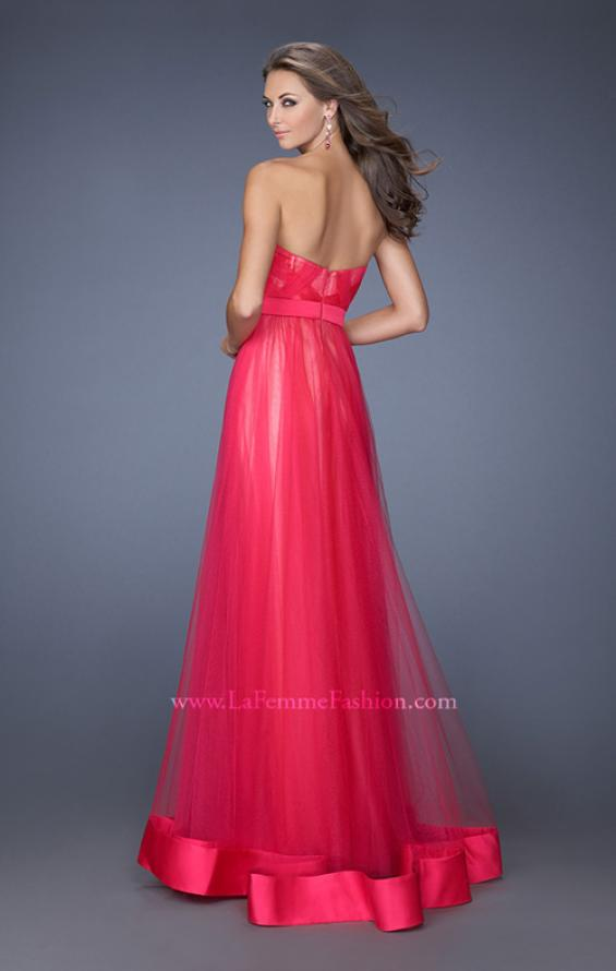Picture of: Long Strapless Tulle Prom Dress with Satin Bow in Pink, Style: 19809, Back Picture