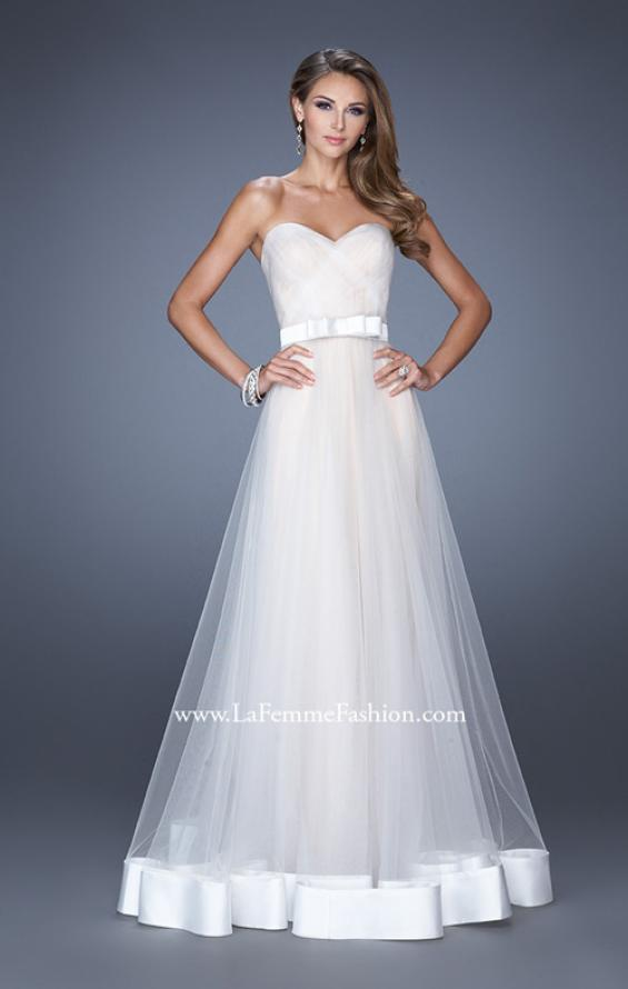 Picture of: Long Strapless Tulle Prom Dress with Satin Bow in White, Style: 19809, Detail Picture 2
