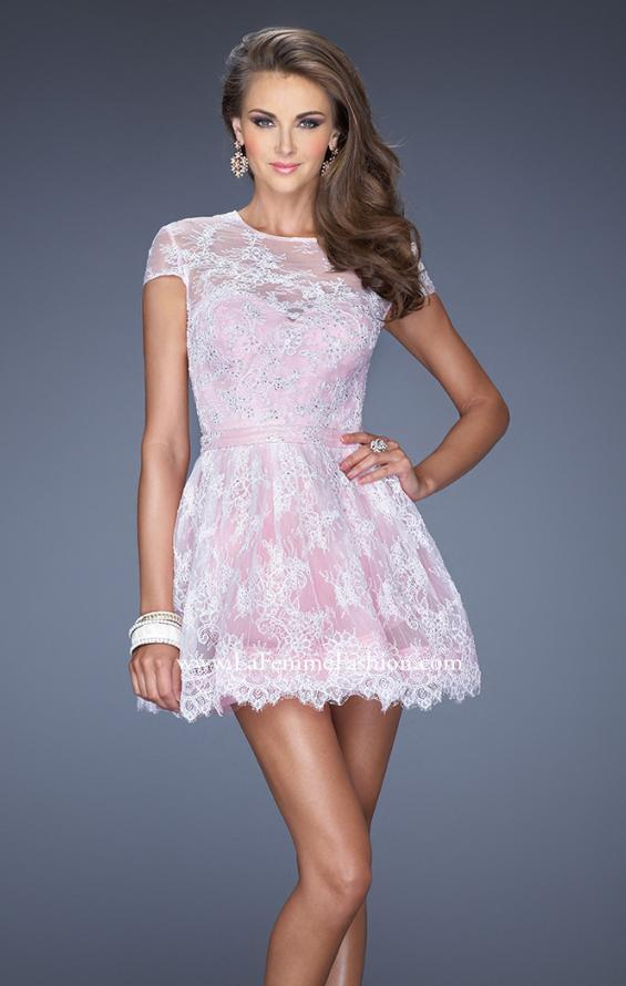 Picture of: Short Cap Sleeve Homecoming Dress with Lace in Pink, Style: 19811, Main Picture