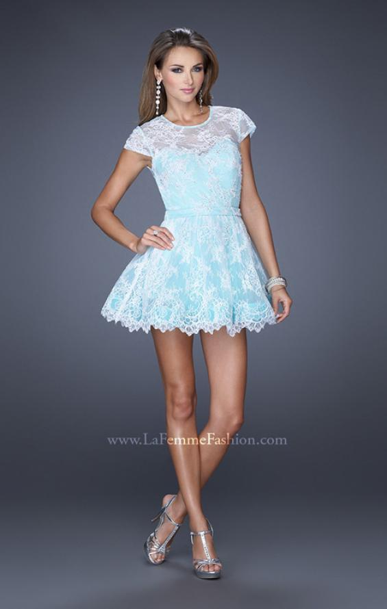 Picture of: Short Cap Sleeve Homecoming Dress with Lace in Blue, Style: 19811, Detail Picture 1