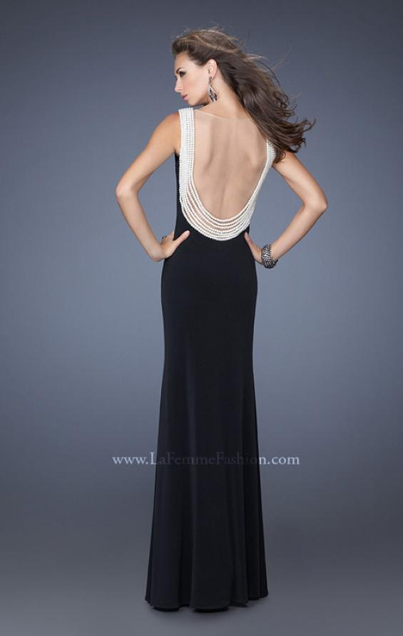 Picture of: Fitted Jersey Gown with Pearl Detail and Side Slit, Style: 19814, Main Picture
