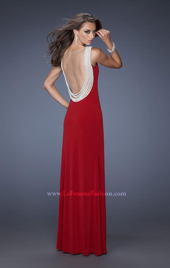 Picture of: Fitted Jersey Gown with Pearl Detail and Side Slit, Style: 19814, Detail Picture 1