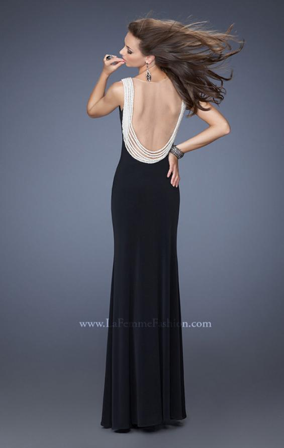 Picture of: Fitted Jersey Gown with Pearl Detail and Side Slit, Style: 19814, Detail Picture 2