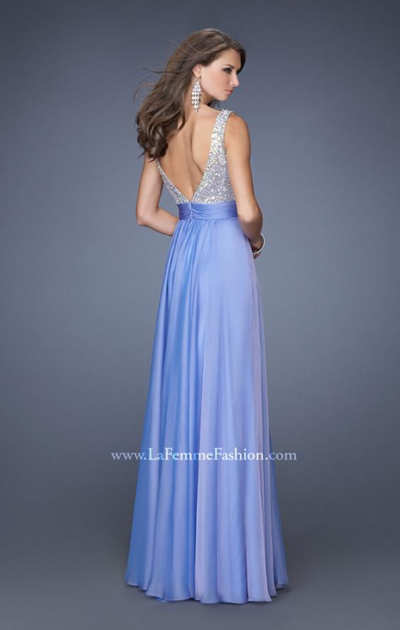 Picture of: High Scoop Neck Chiffon Dress with Sequin Fabric, Style: 19815, Back Picture