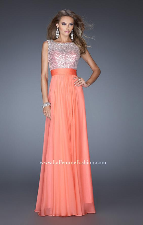 Picture of: High Scoop Neck Chiffon Dress with Sequin Fabric, Style: 19815, Detail Picture 1
