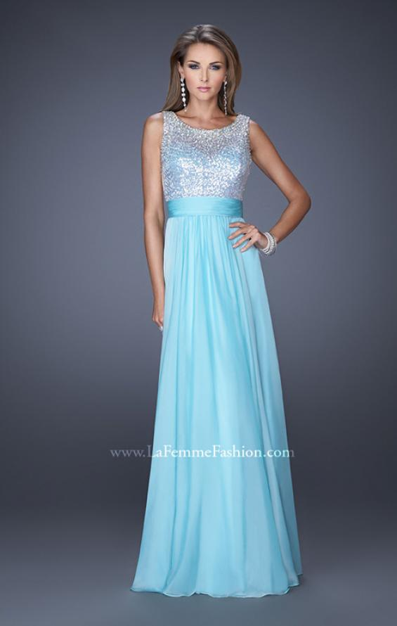 Picture of: High Scoop Neck Chiffon Dress with Sequin Fabric, Style: 19815, Detail Picture 2